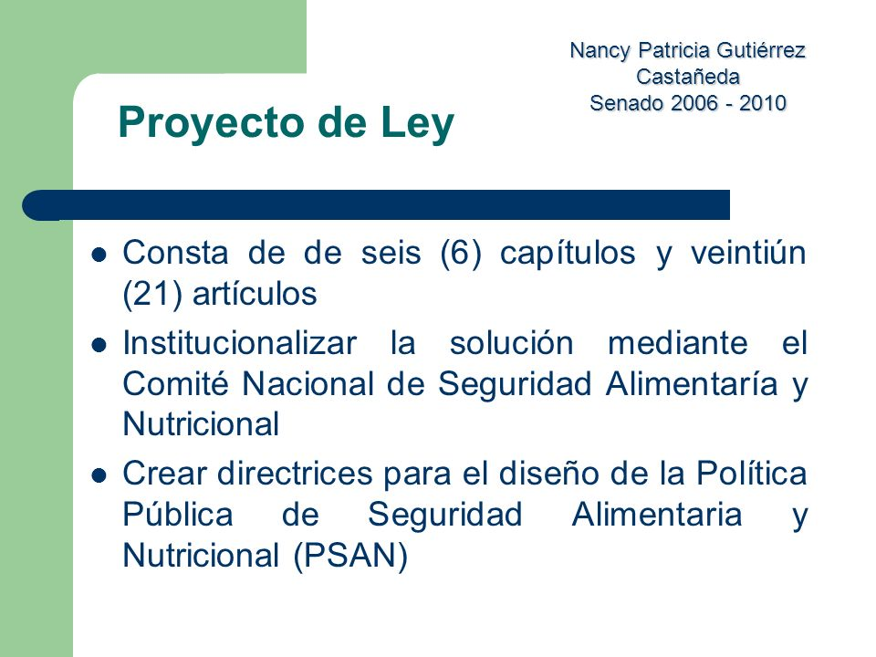 Proyecto de Ley Consta de de seis (6) capítulos y veintiún (21) artículos.