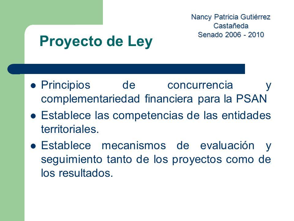 Proyecto de Ley Principios de concurrencia y complementariedad financiera para la PSAN. Establece las competencias de las entidades territoriales.