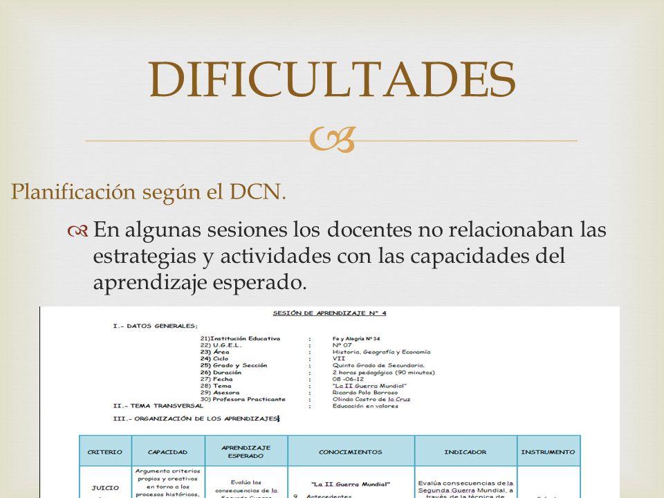 Planificación según el DCN.