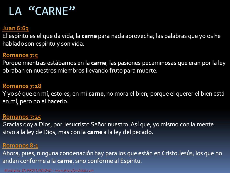 LA CARNE Juan 6:63 El espíritu es el que da vida; la carne para nada aprovecha; las palabras que yo os he hablado son espíritu y son vida.