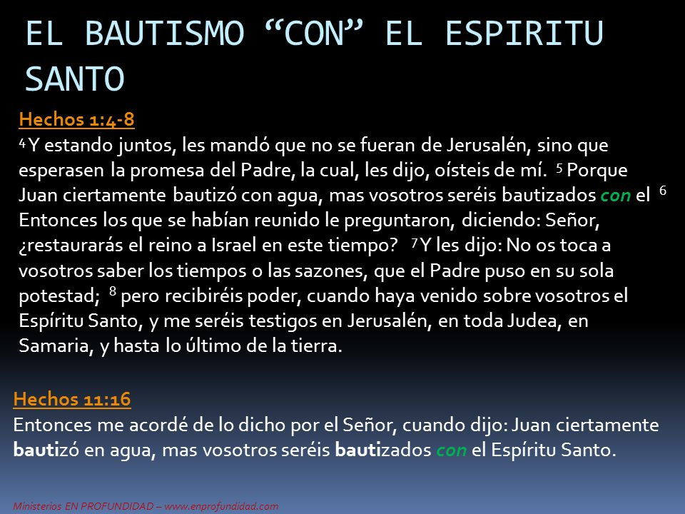 EL BAUTISMO CON EL ESPIRITU SANTO