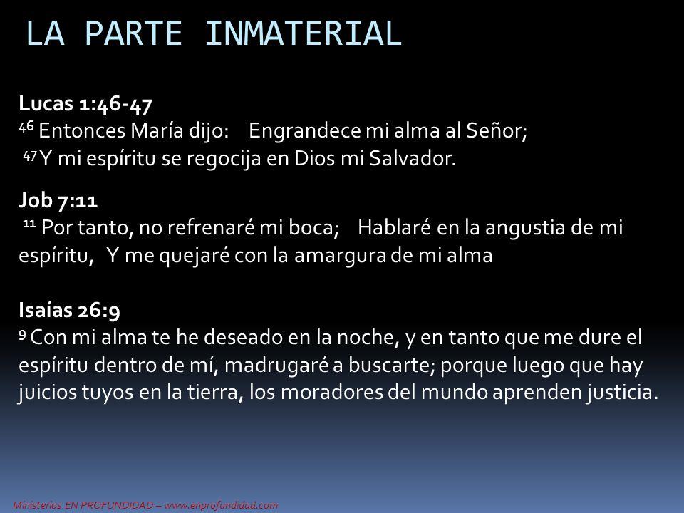 LA PARTE INMATERIAL Lucas 1:46-47