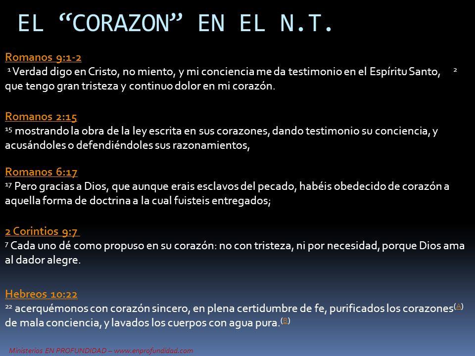 EL CORAZON EN EL N.T. Romanos 9:1-2
