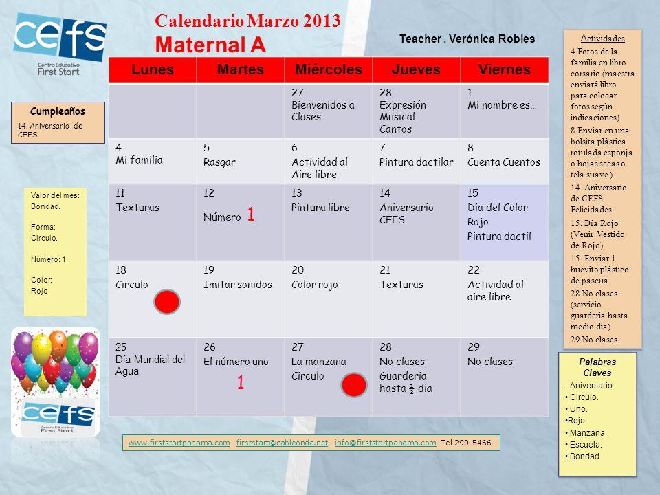 Maternal A Calendario Marzo 2013 Lunes Martes Miércoles Jueves Viernes