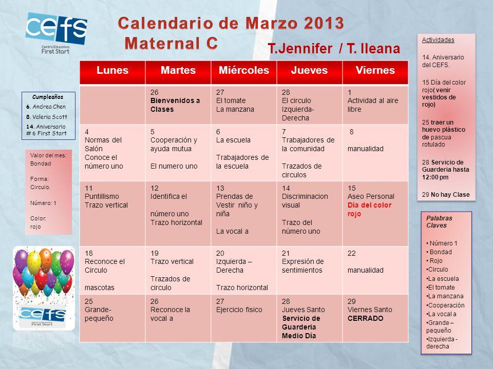 Calendario de Marzo 2013 Maternal C T.Jennifer / T. Ileana Lunes