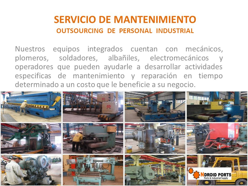 SERVICIO DE MANTENIMIENTO OUTSOURCING DE PERSONAL INDUSTRIAL