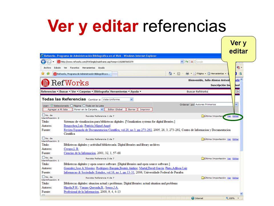 Ver y editar referencias