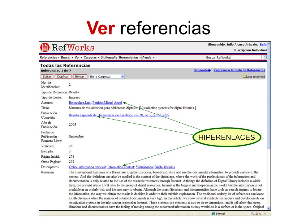 Ver referencias HIPERENLACES