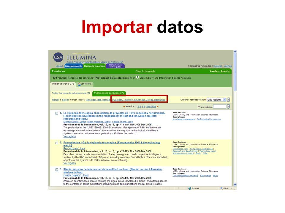 Importar datos
