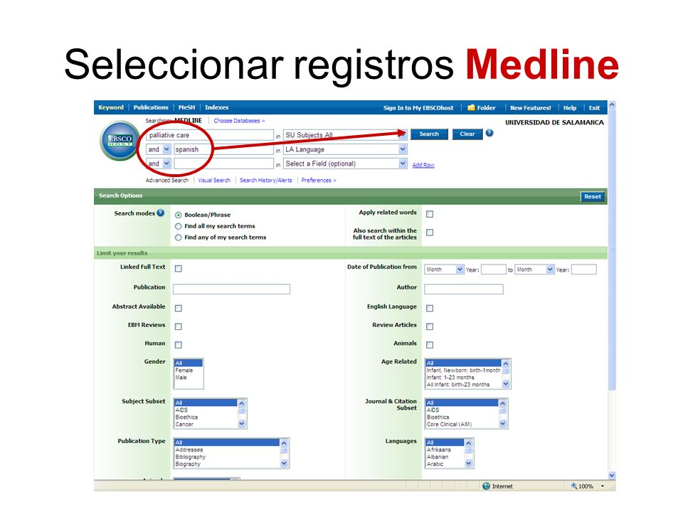 Seleccionar registros Medline