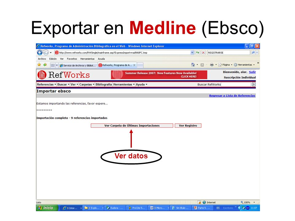 Exportar en Medline (Ebsco)
