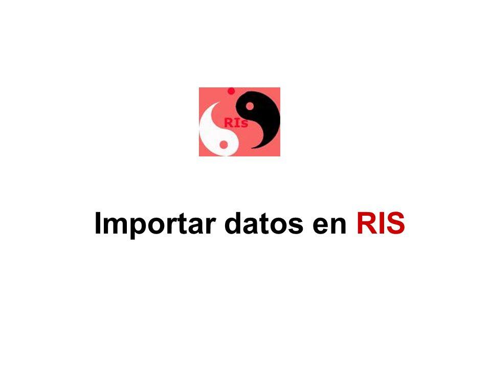 Importar datos en RIS