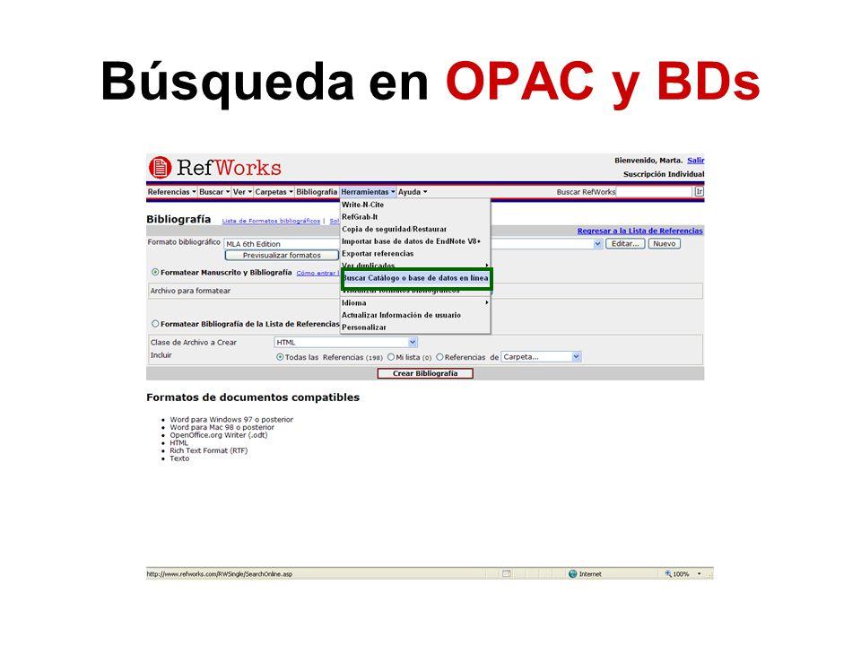 Búsqueda en OPAC y BDs