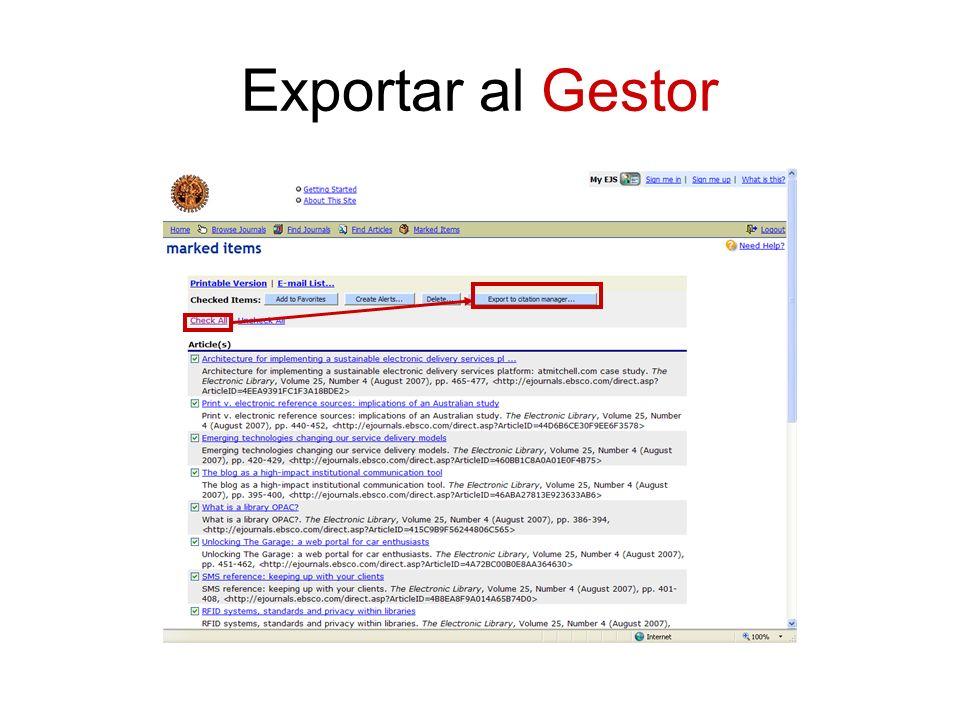 Exportar al Gestor