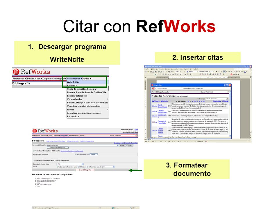 Citar con RefWorks Descargar programa WriteNcite 2. Insertar citas