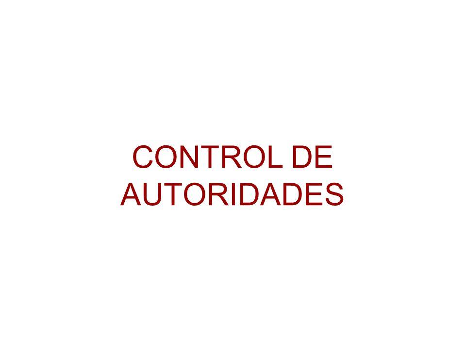 CONTROL DE AUTORIDADES