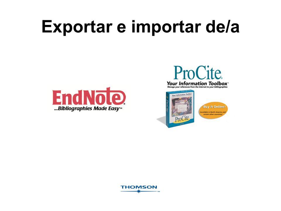 Exportar e importar de/a