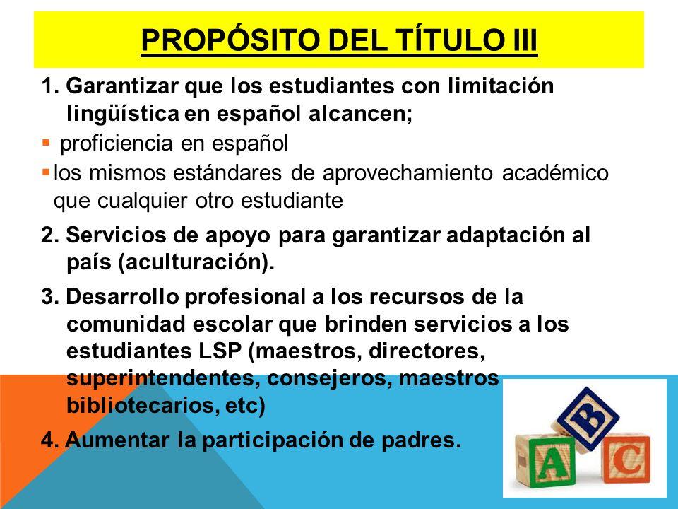 PROPÓSITO DEL TÍTULO III