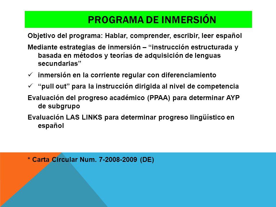 Programa de inmersión Objetivo del programa: Hablar, comprender, escribir, leer español.
