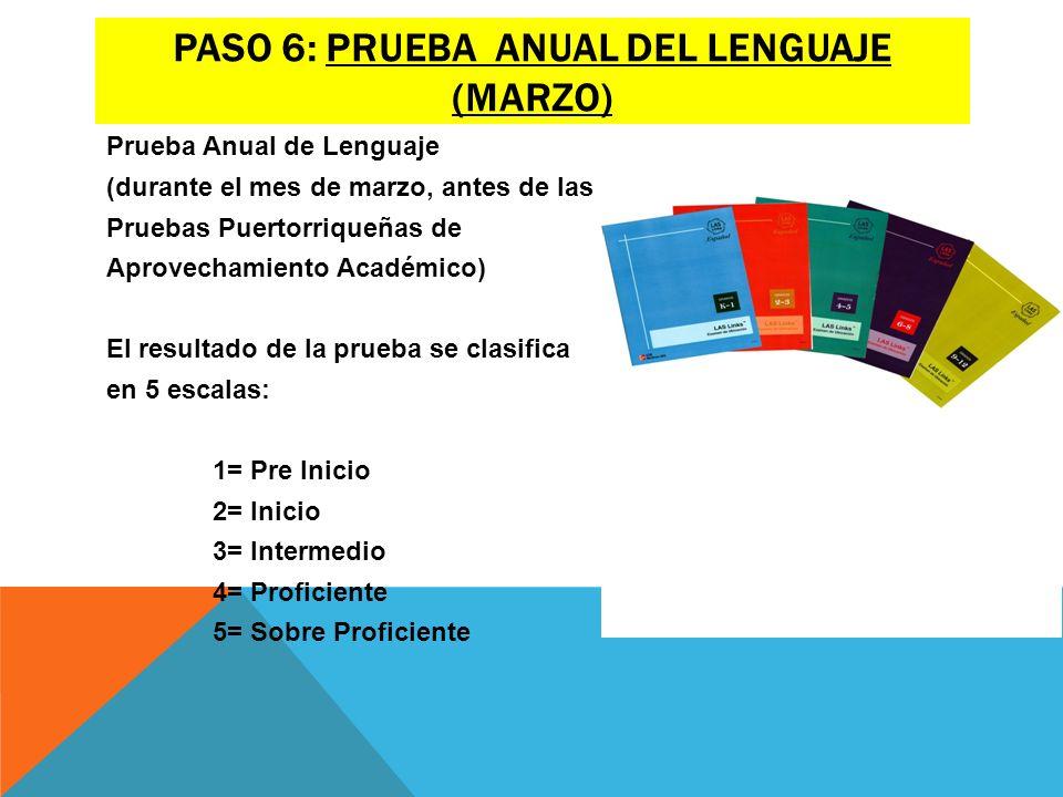 Paso 6: prueba anual del lenguaje (marzo)