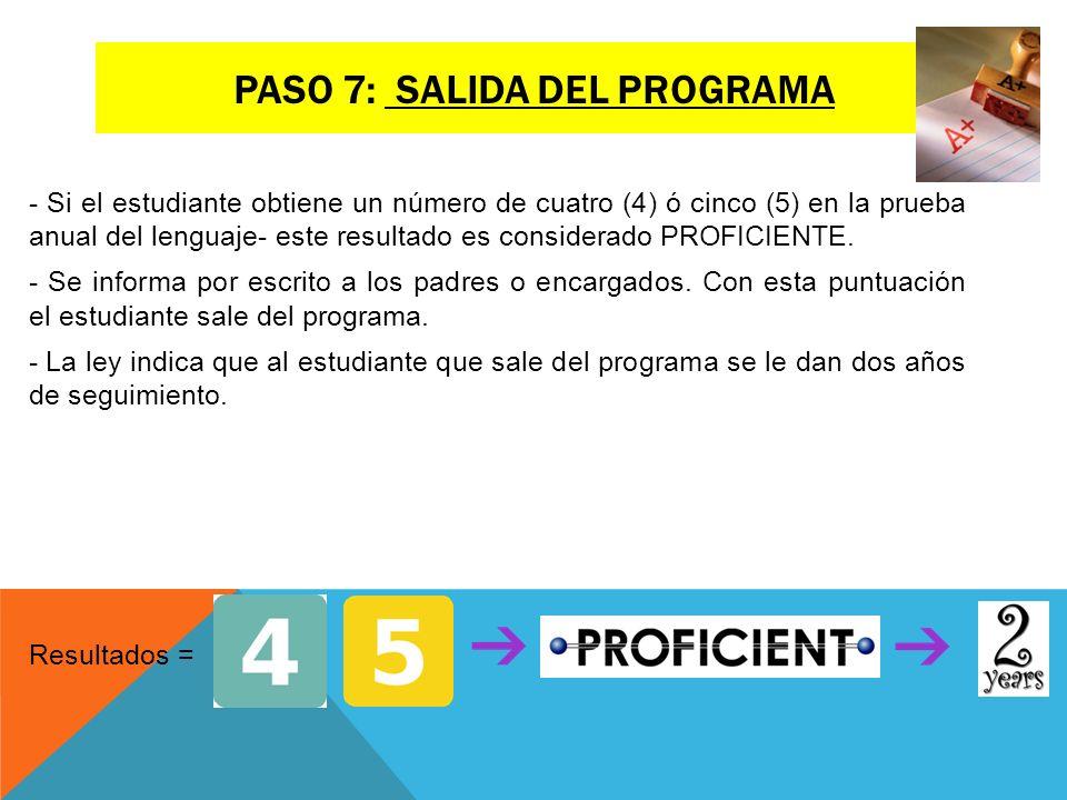 Paso 7: salida del programa