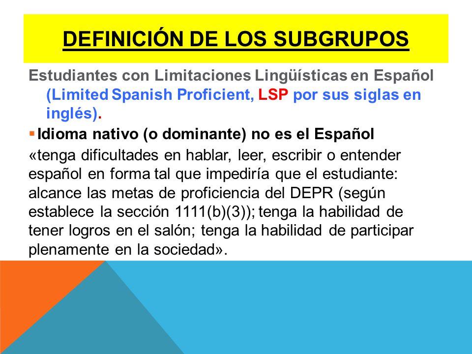 DEFINICIÓN DE LOS SUBGRUPOS
