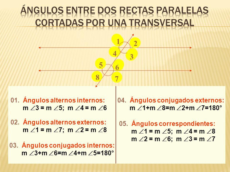 ÁNGULOS ENTRE DOS RECTAS PARALELAS CORTADAS POR UNA TRANSVERSAL