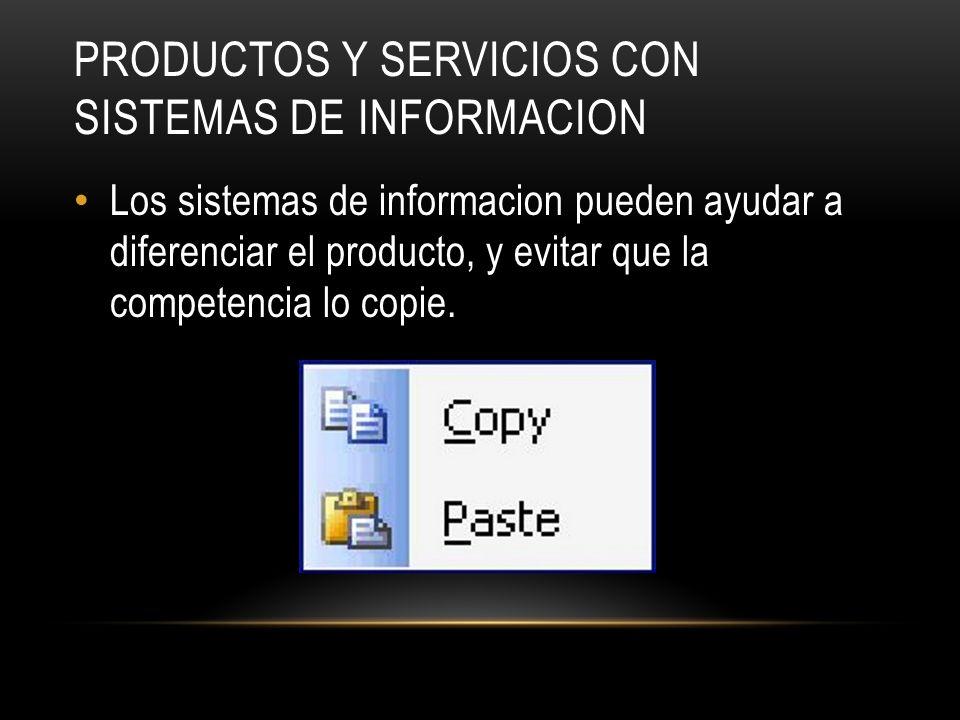 Productos y servicios con sistemas de informacion