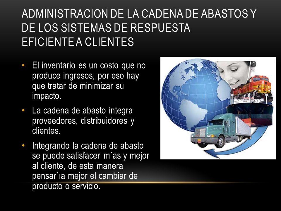 Administracion de la cadena de abastos y de los sistemas de respuesta eficiente a clientes