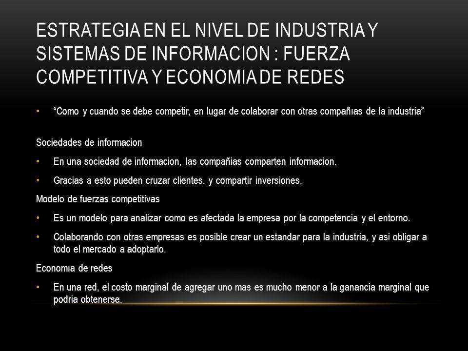 Estrategia en el nivel de industria y sistemas de informacion : fuerza competitiva y economIa de redes