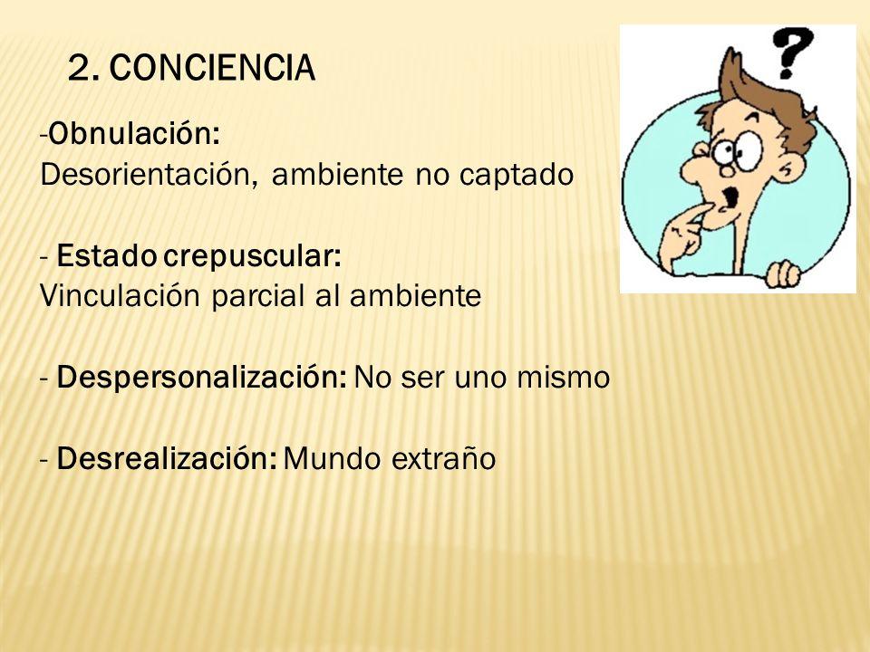 2. CONCIENCIA Obnulación: Desorientación, ambiente no captado