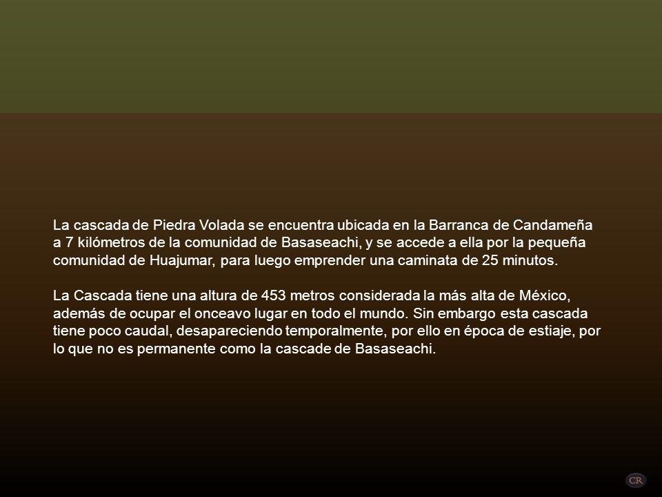 La cascada de Piedra Volada se encuentra ubicada en la Barranca de Candameña a 7 kilómetros de la comunidad de Basaseachi, y se accede a ella por la pequeña comunidad de Huajumar, para luego emprender una caminata de 25 minutos. La Cascada tiene una altura de 453 metros considerada la más alta de México, además de ocupar el onceavo lugar en todo el mundo.