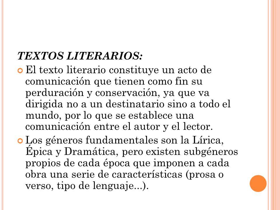 TEXTOS LITERARIOS: