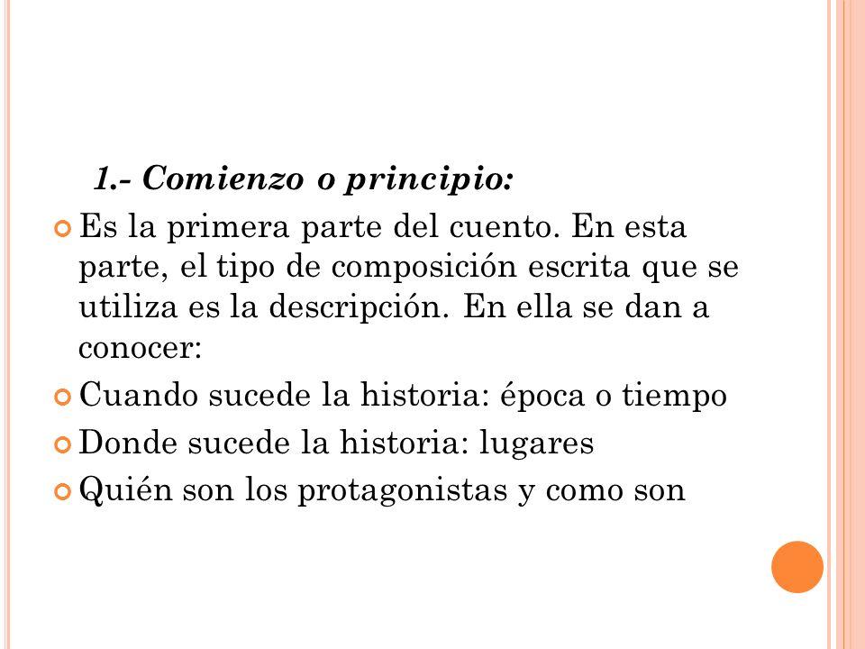 1.- Comienzo o principio: