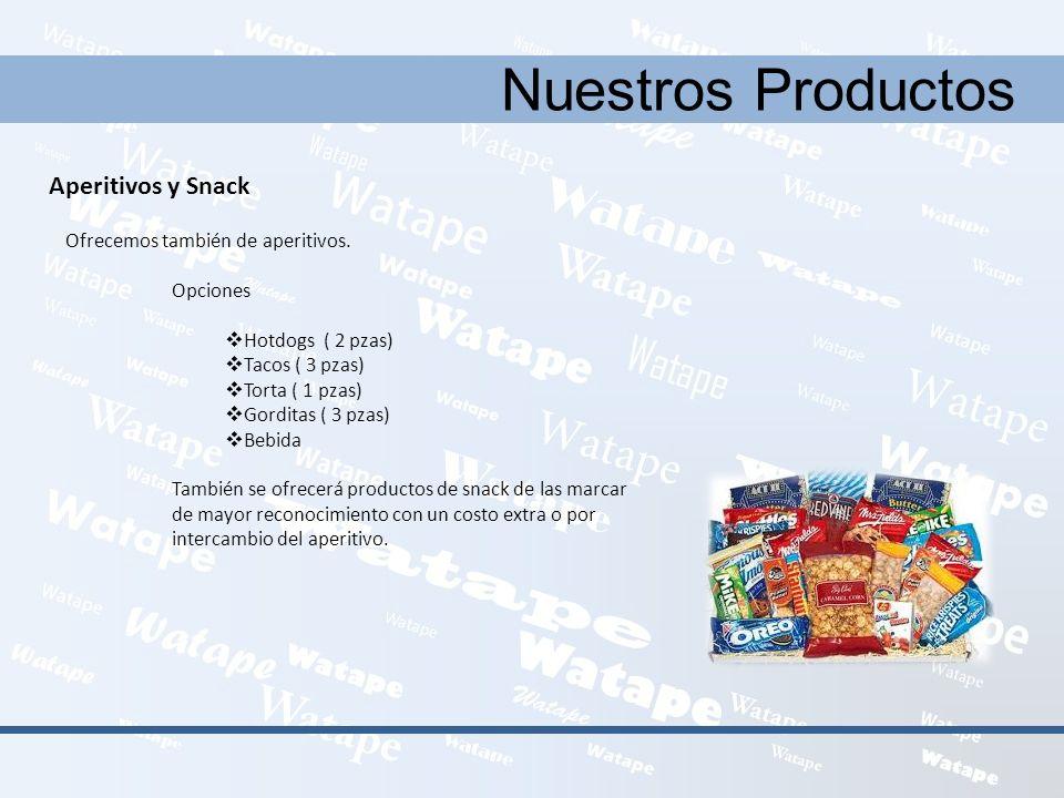 Nuestros Productos Aperitivos y Snack Ofrecemos también de aperitivos.