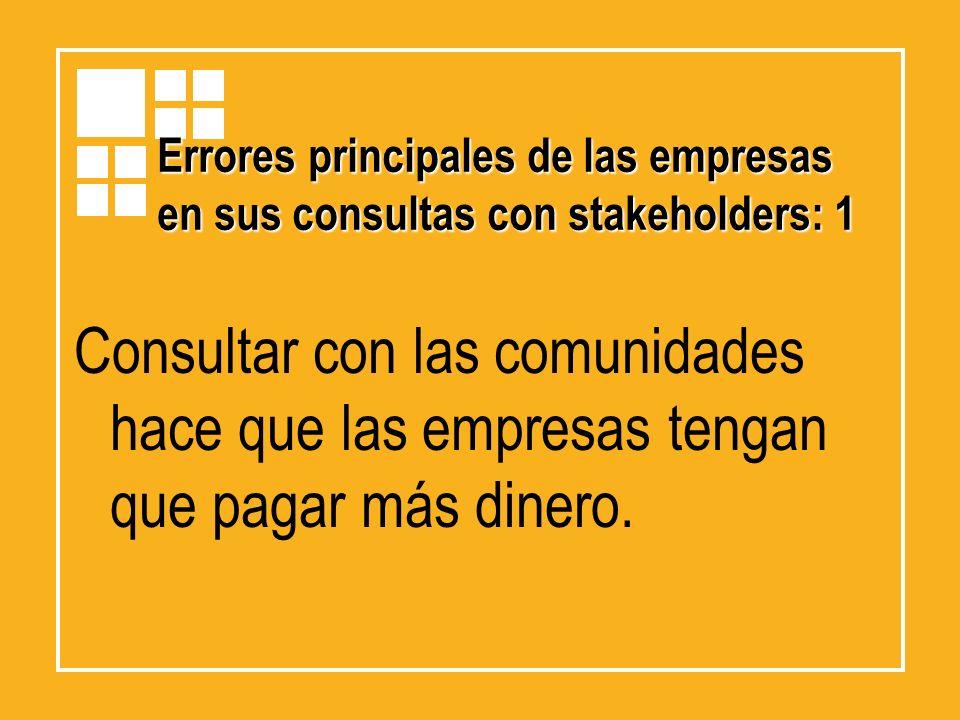 Errores principales de las empresas en sus consultas con stakeholders: 1