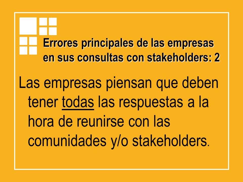 Errores principales de las empresas en sus consultas con stakeholders: 2