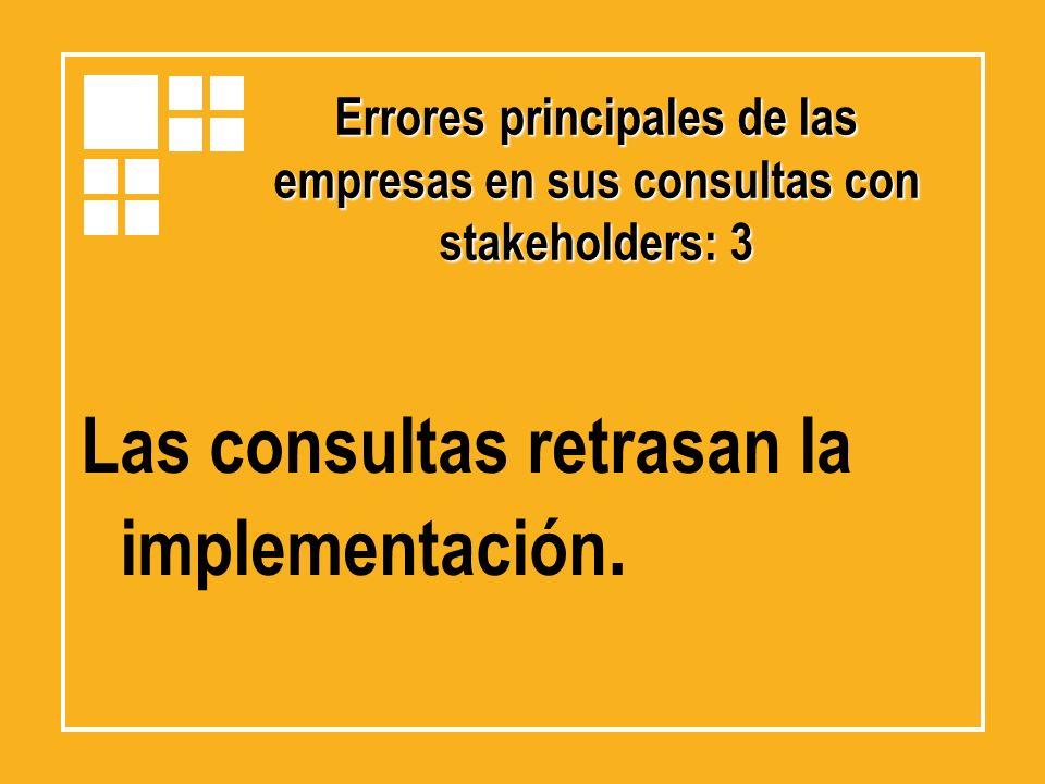 Las consultas retrasan la implementación.