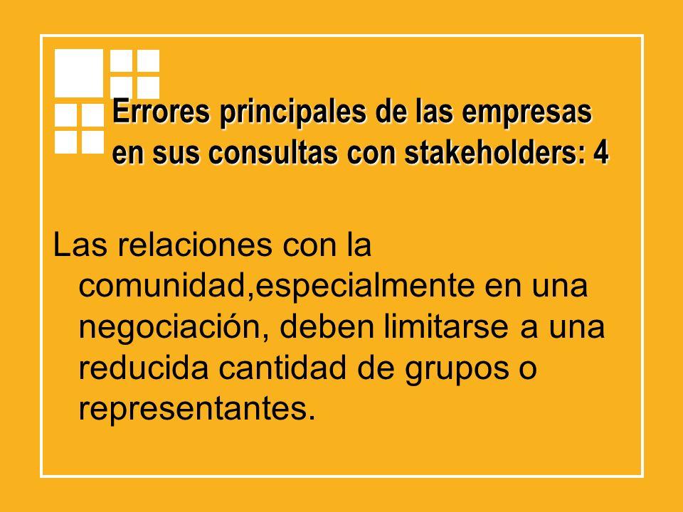 Errores principales de las empresas en sus consultas con stakeholders: 4