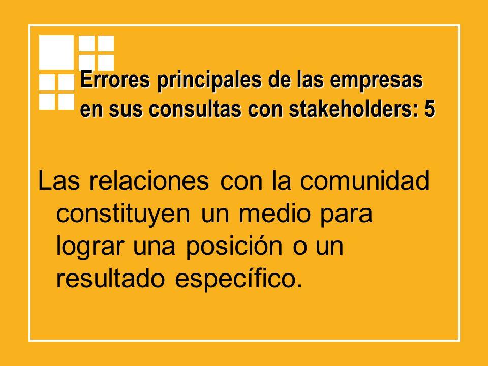Errores principales de las empresas en sus consultas con stakeholders: 5