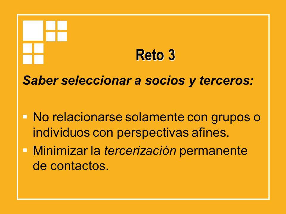 Reto 3 Saber seleccionar a socios y terceros: