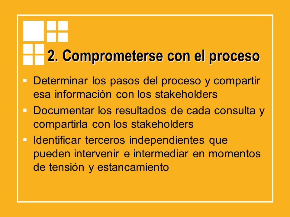2. Comprometerse con el proceso