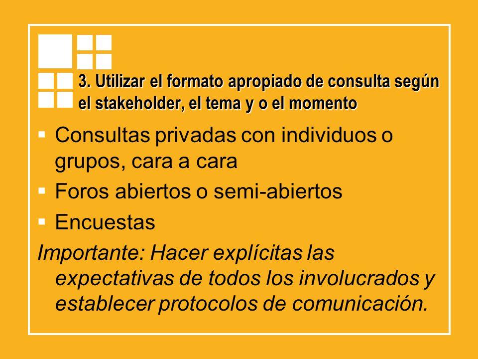 Consultas privadas con individuos o grupos, cara a cara