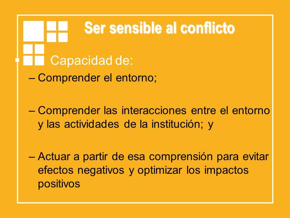 Ser sensible al conflicto