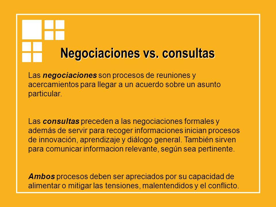 Negociaciones vs. consultas