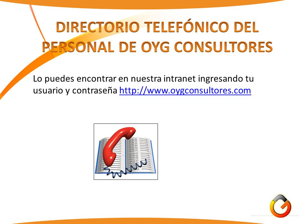 DIRECTORIO TELEFÓNICO DEL PERSONAL DE OYG CONSULTORES