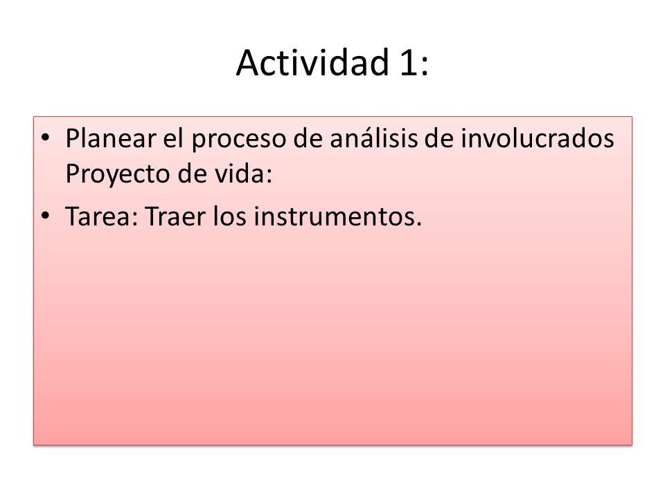Actividad 1: Planear el proceso de análisis de involucrados Proyecto de vida: Tarea: Traer los instrumentos.