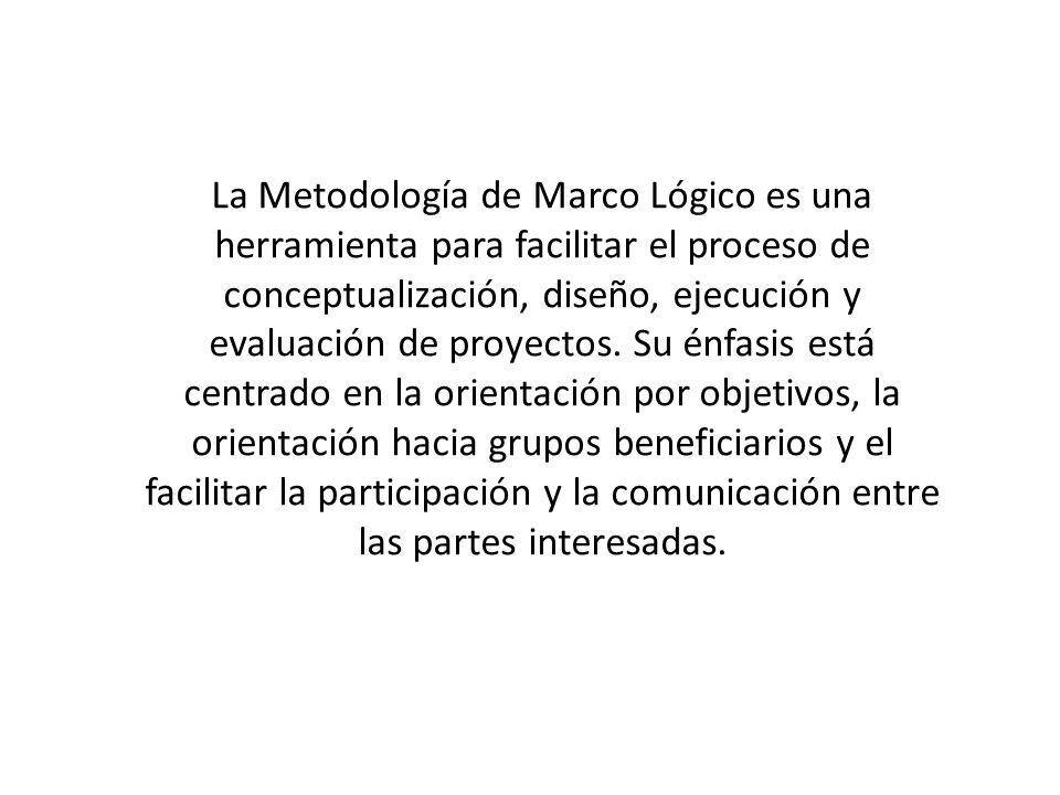 La Metodología de Marco Lógico es una herramienta para facilitar el proceso de conceptualización, diseño, ejecución y evaluación de proyectos.