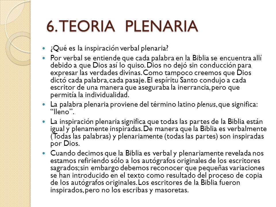6. TEORIA PLENARIA ¿Qué es la inspiración verbal plenaria