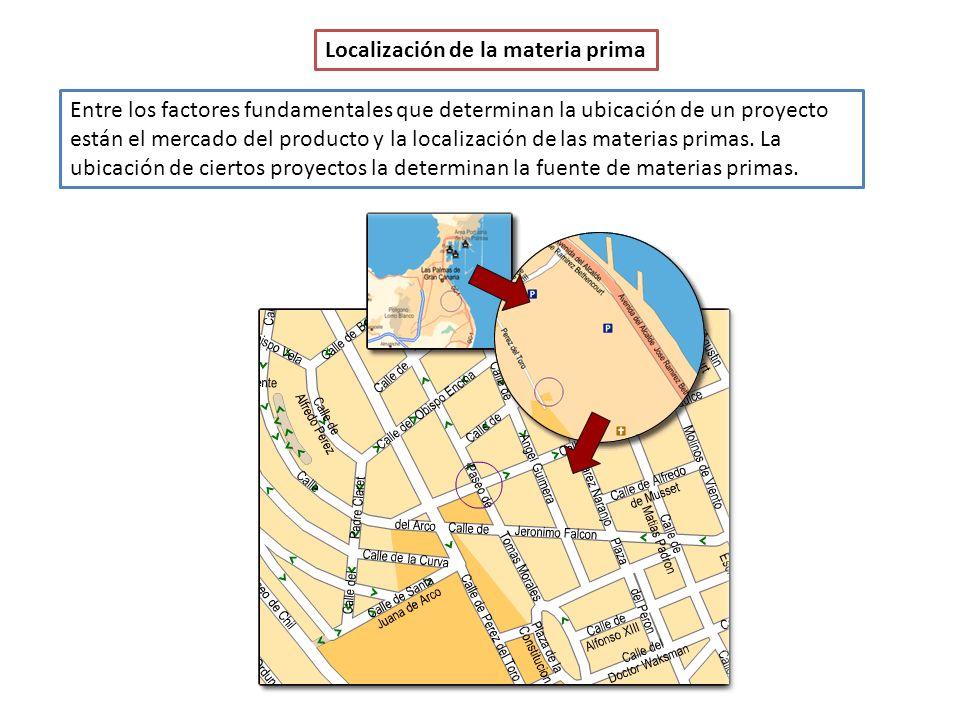 Localización de la materia prima